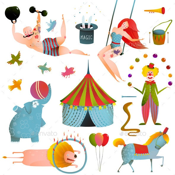 Circus Carnival Show Clip Art Vintage Collection.