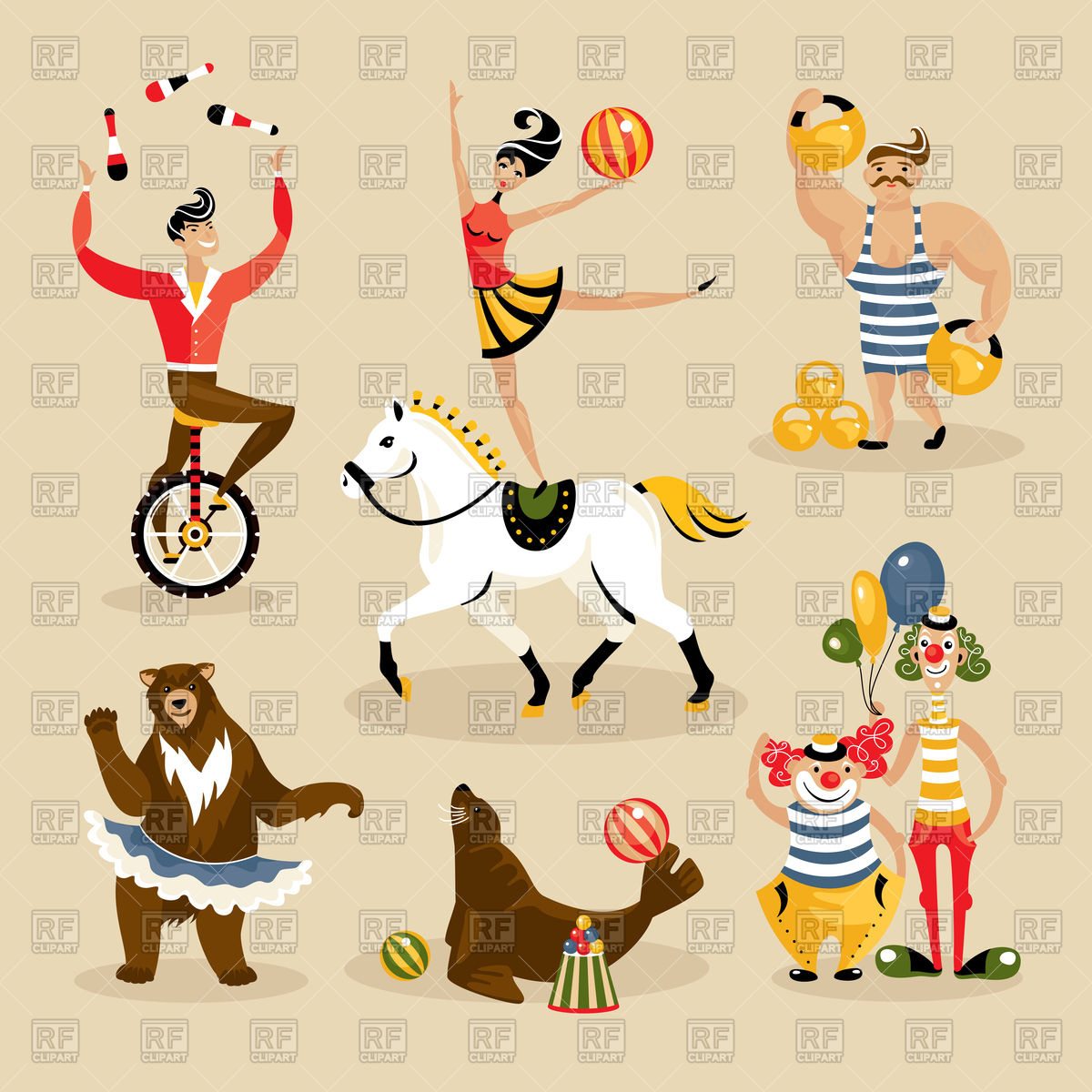 Set of circus characters and animals Stock Vector Image.