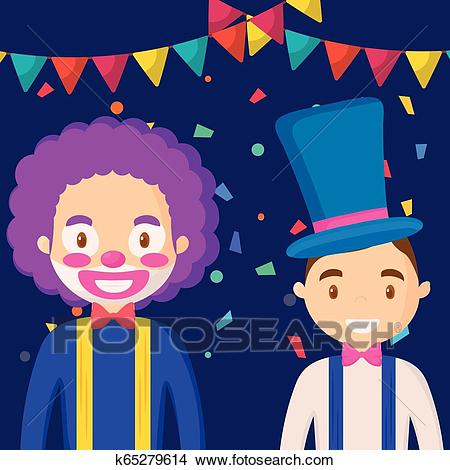 Circus clown and magician funny characters Clipart.