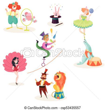 Characters in circus performers and animals in different actions. Carnival  show. Set of decorative elements for poster, ticket, flyer or invitation..