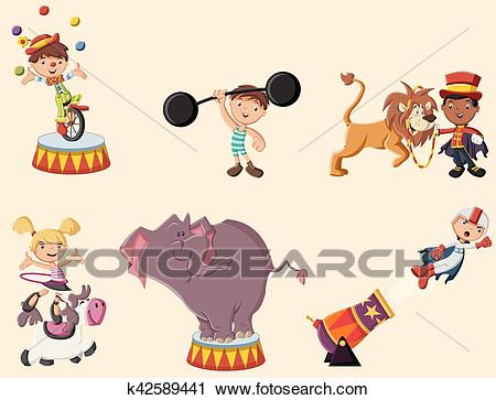 Retro circus cartoon characters and animals. Clipart.