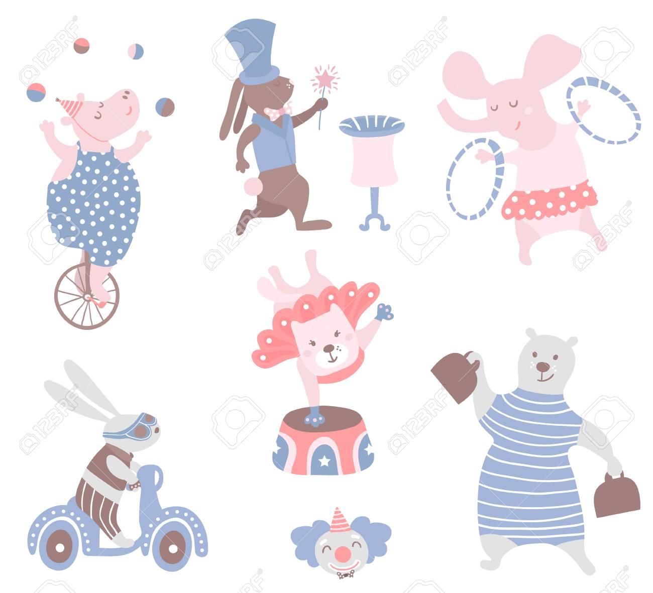 Circus animals vector clipart. Hippo, cat, bear,bunny,elephant,rabbit.