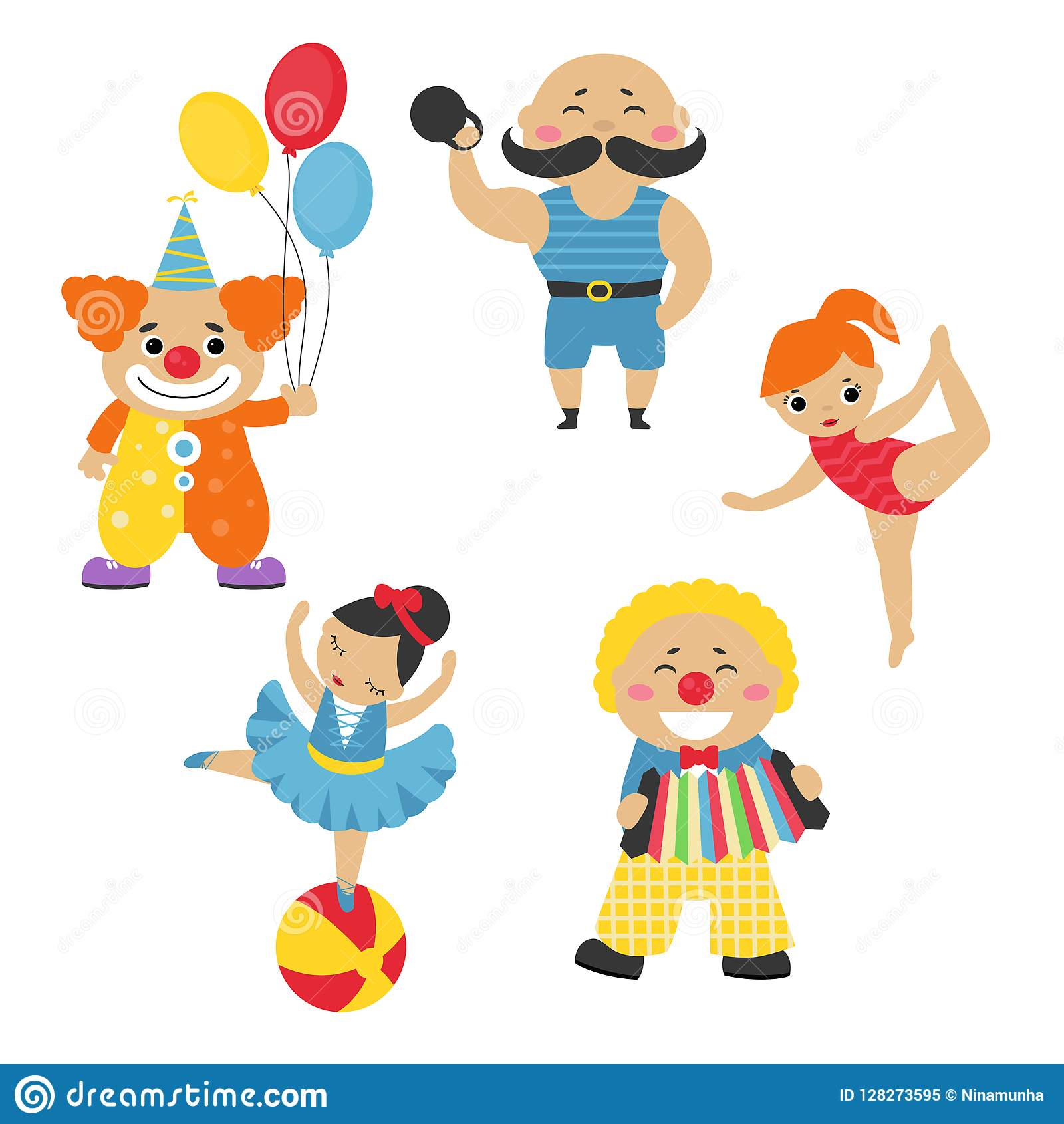 Set of circus characters. stock vector. Illustration of clipart.