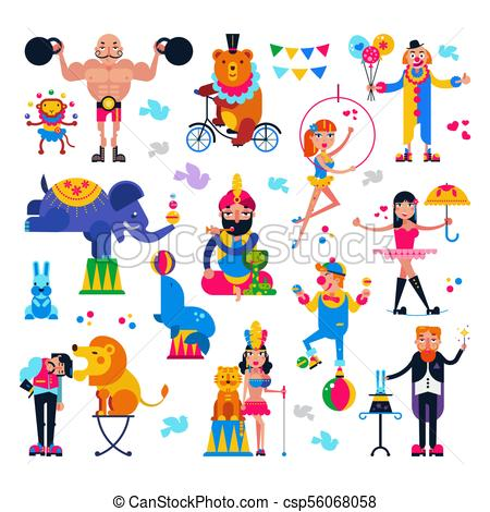Circus people vector acrobat or clown and trained animals characters in  circus.