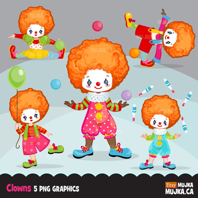 Clown clipart, circus characters, african american, card making, planner  stickers, big top, juggling, circus birthday, carnival graphics.