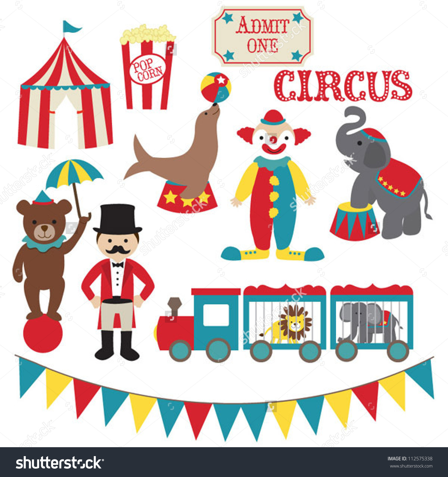 Circus vector clip art set.