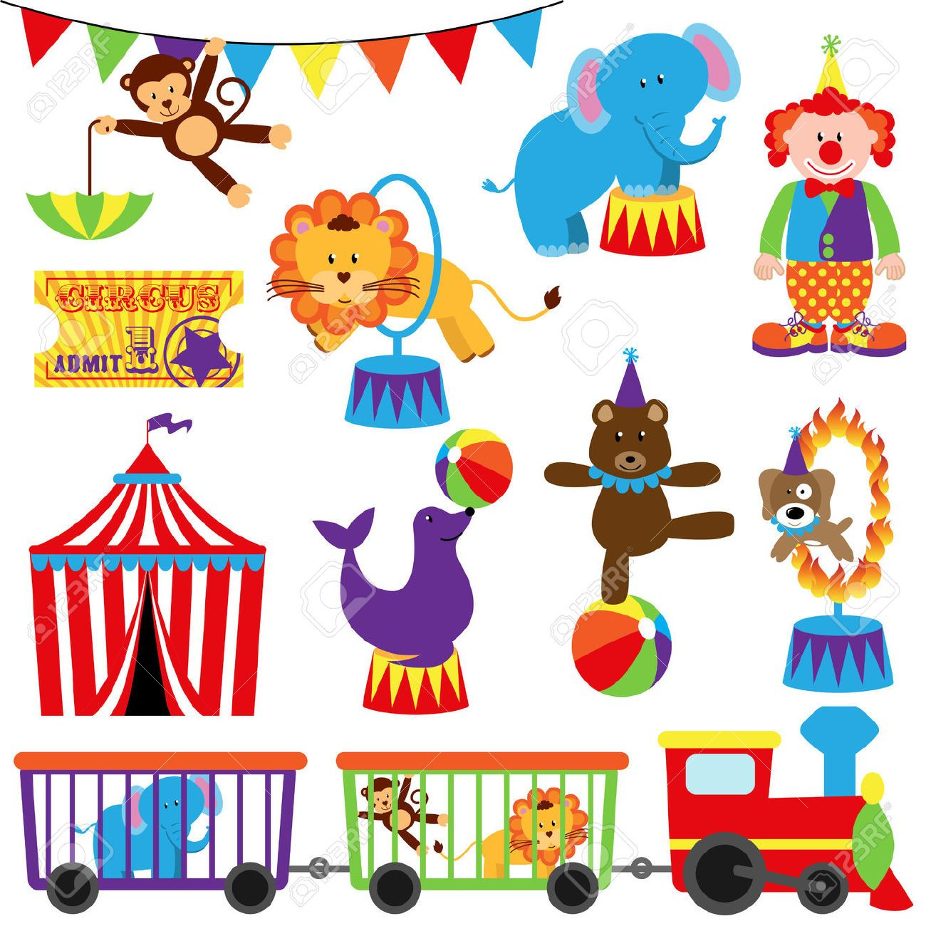 circus animals: Vector Set of Cute Circus Themed Images Illustration.