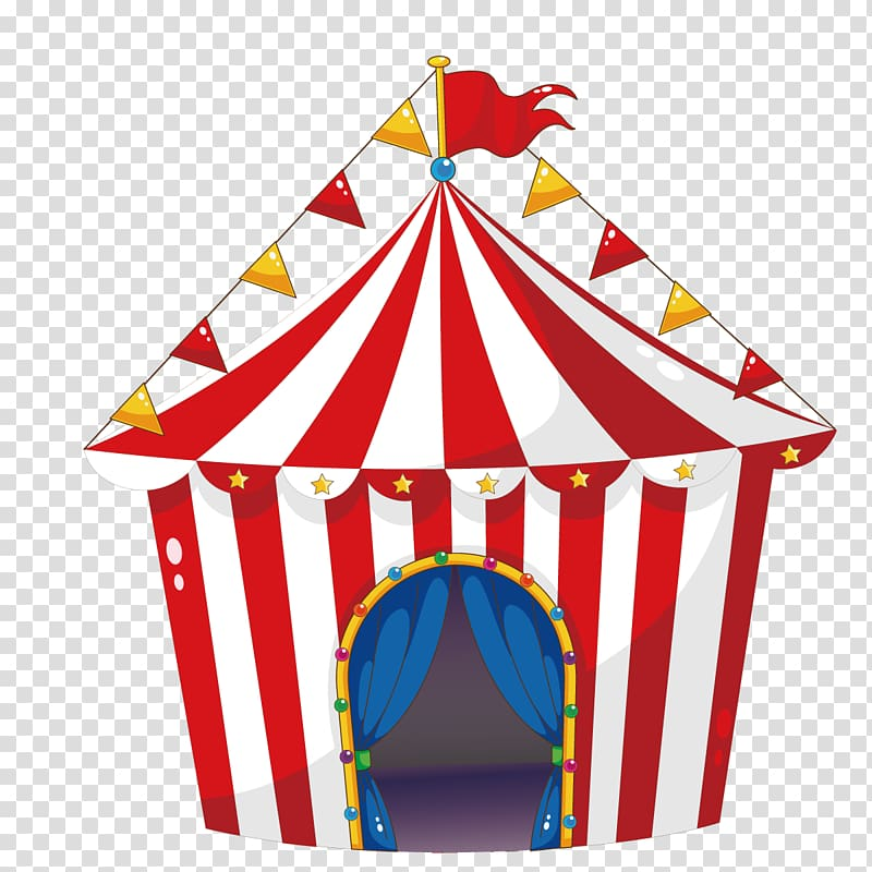 White and red carnival tent illustration, Tent Circus.