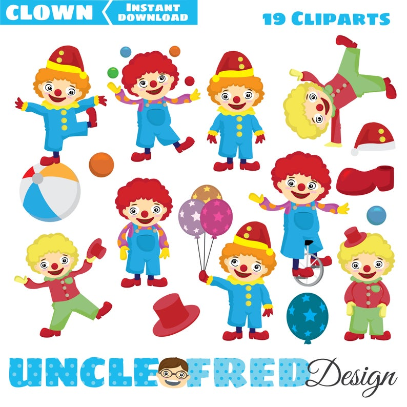 Kawaii Circus Clown Clipart for scrapbooking commercial use.