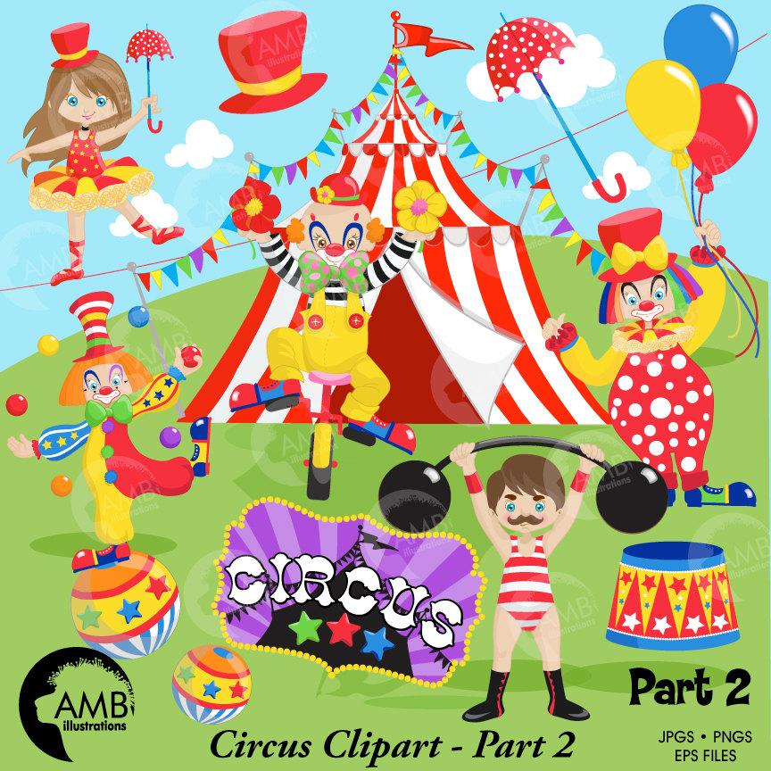 Circus Clipart pack, Clown clipart, circus clowns, tightrope walker.