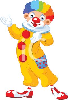 Royalty Free Clipart Image: Cute Circus Clown Wearing a Rainbow Wig.