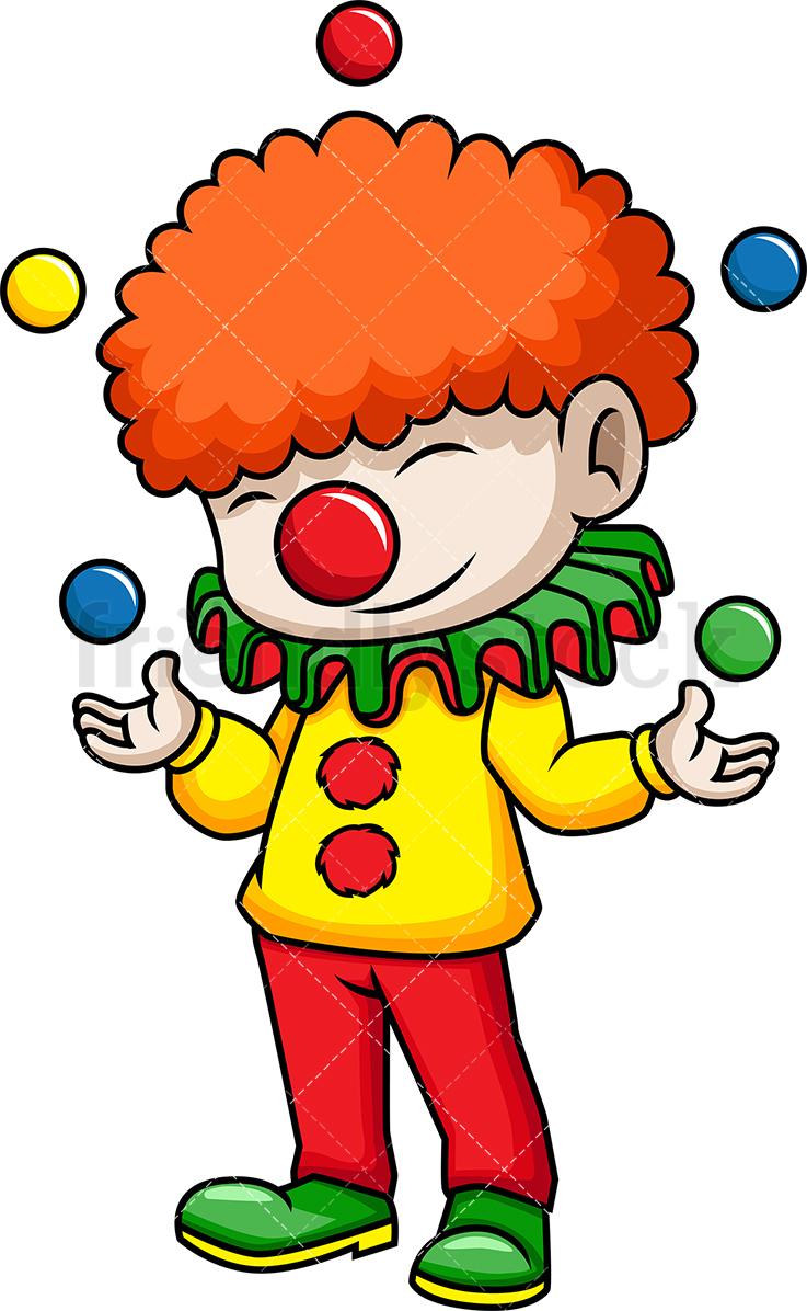 Circus Clown Juggling Balls Cartoon Vector Clipart.