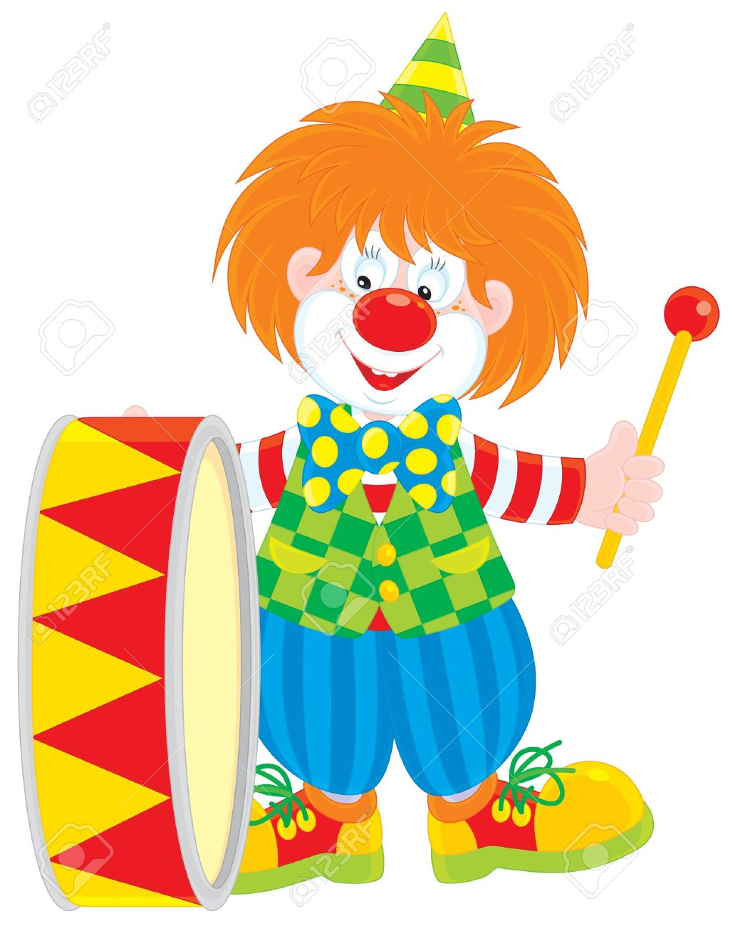 Circus Clown Drummer Royalty Free Cliparts, Vectors, And Stock.