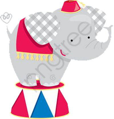 Circus Elephant, Elephant Clipart, Circus Clipart, Decorative.