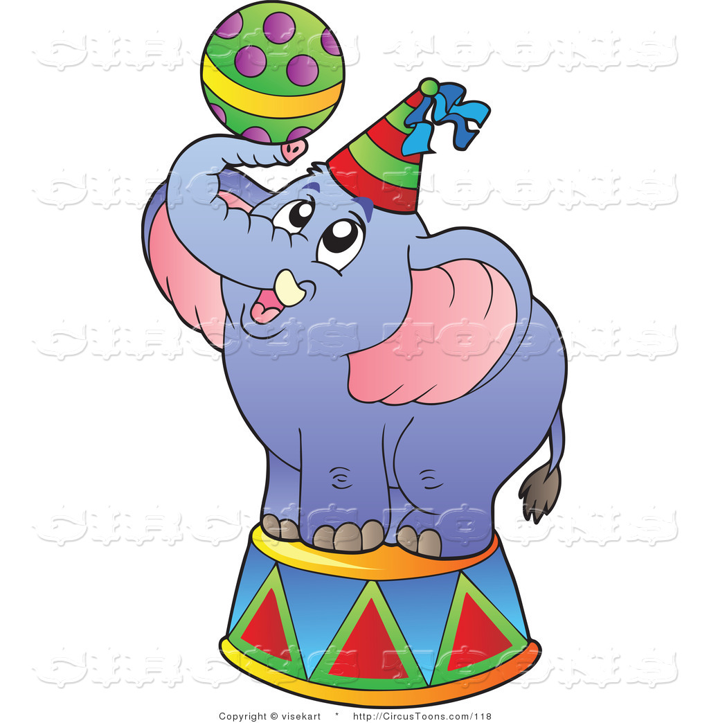 Circus Clipart of a Blue Circus Elephant with a Ball by visekart.