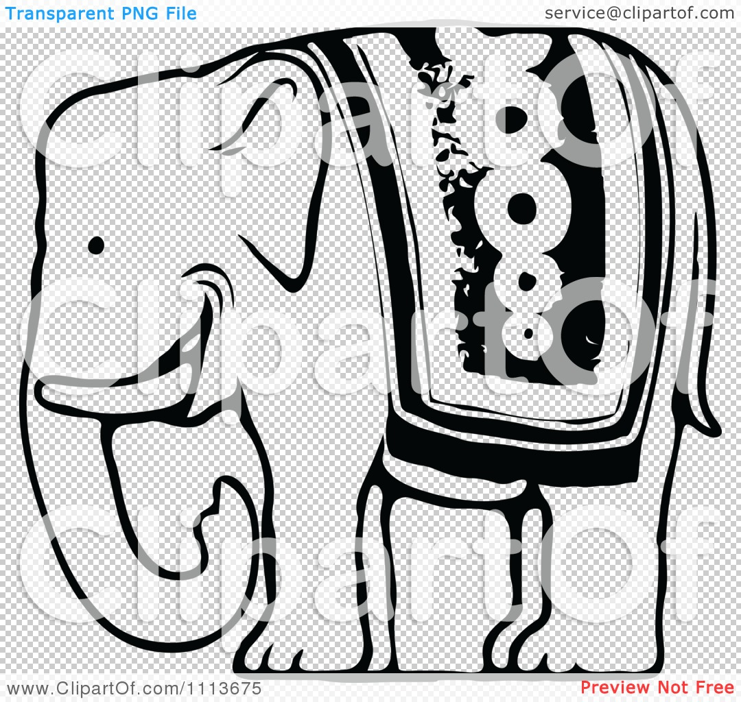 Clipart Vintage Black And White Circus Elephant.