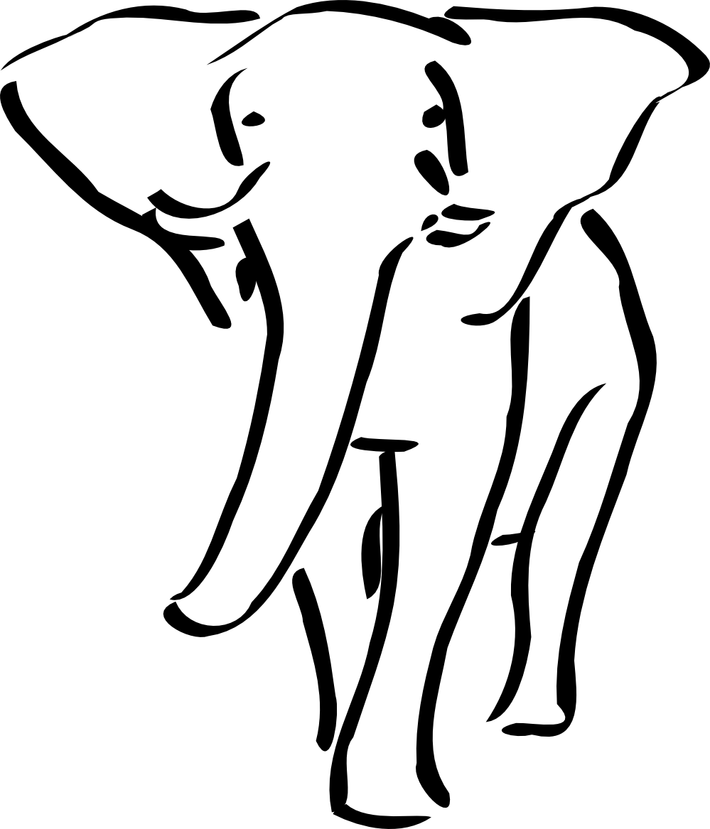 Circus Elephant Clipart Black And White.