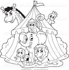 Circus elephant coloring page.