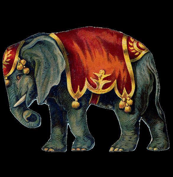 Victorian Vintage Circus Elephant transparent PNG.