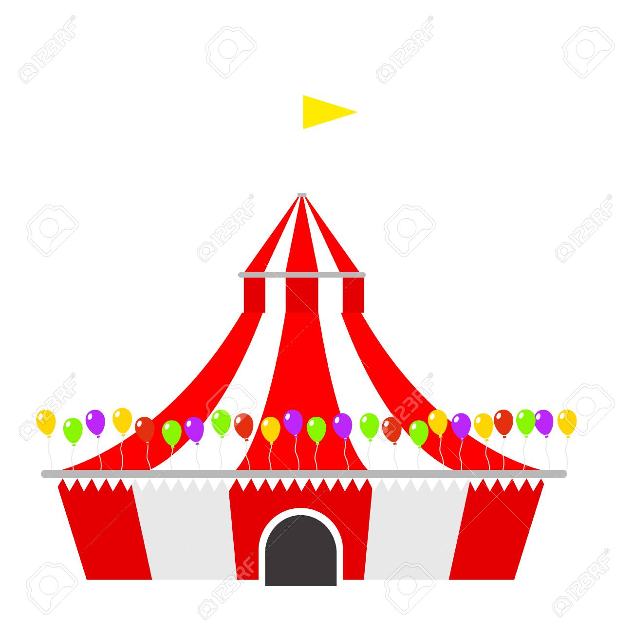 Circus tent marquee with stripes and flags carnival entertainment...