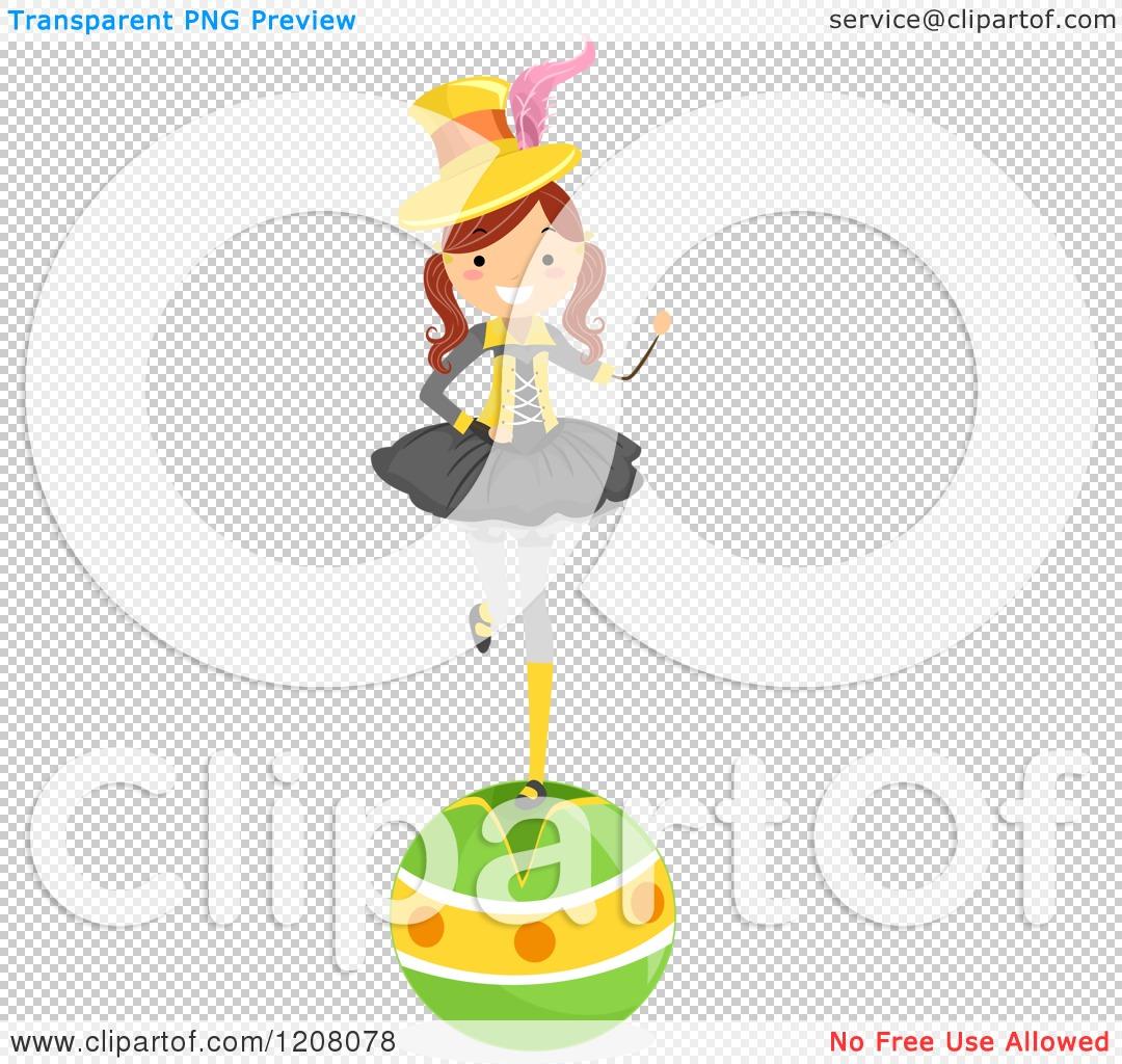 Cartoon of a Circus Girl Balancing on a Ball.