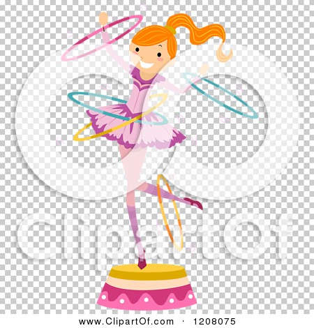 Cartoon of a Circus Girl Perfoming with Hoops.