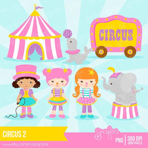 Cute Circus Clown Girl Clipart.