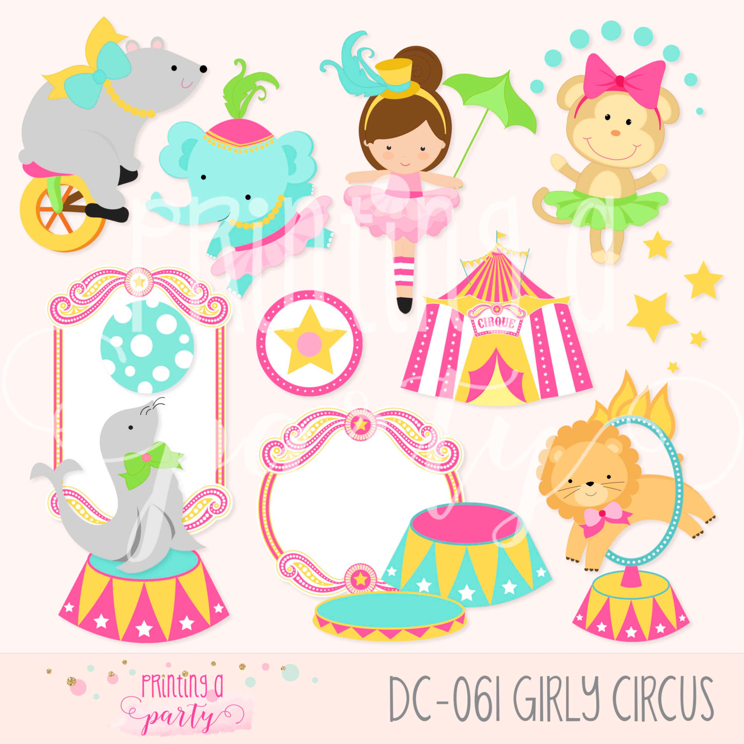 Circus Girl Animals Clipart Carnivale Party Girly Circus Clip Art.