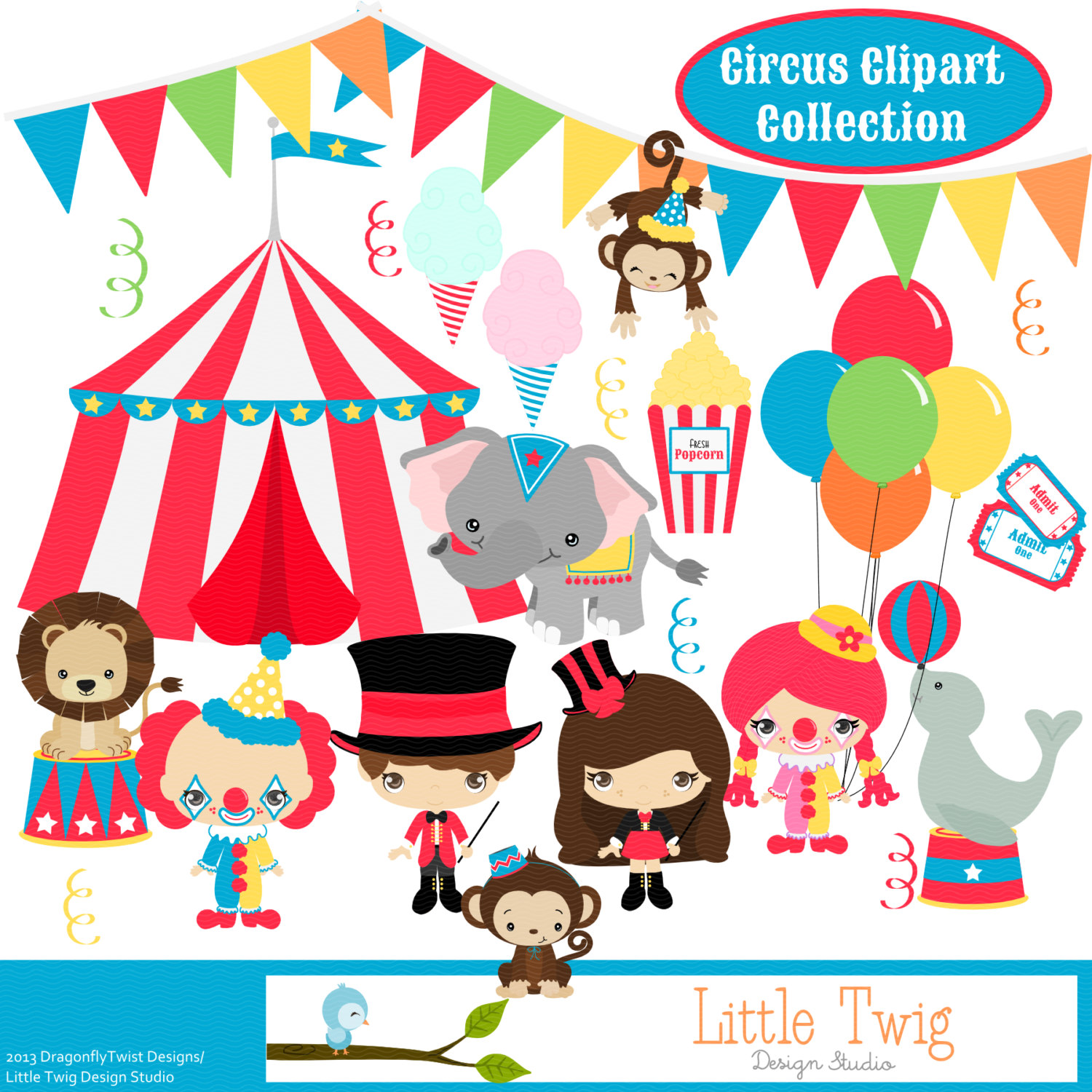 Circus Digital Clipart clip art collection.