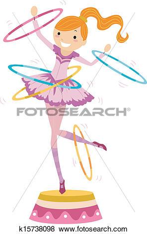 Clip Art of Girl Circus Hoops k15738098.