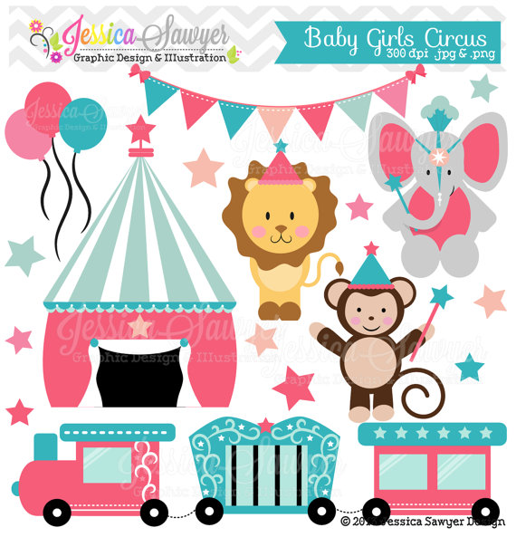 INSTANT DOWNLOAD, baby girl circus clipart, circus vectors, train.