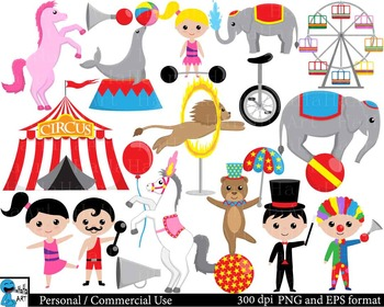 Circus Digital Clip Art Graphics Personal and Commercial Use 64 images  cod177.