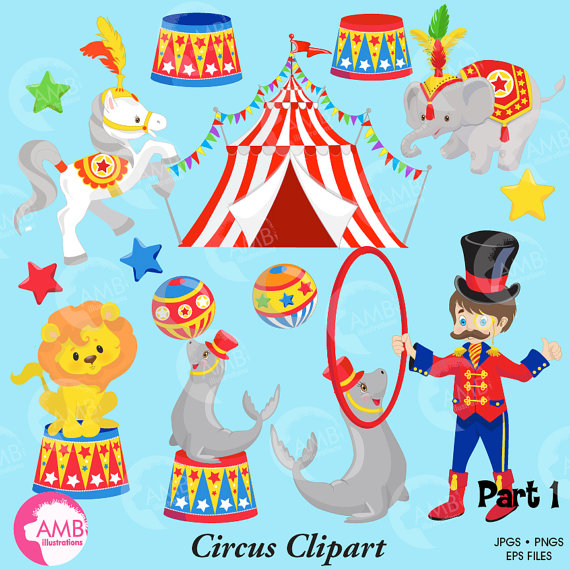 Circus Clipart pack lion seal horse elephant by.