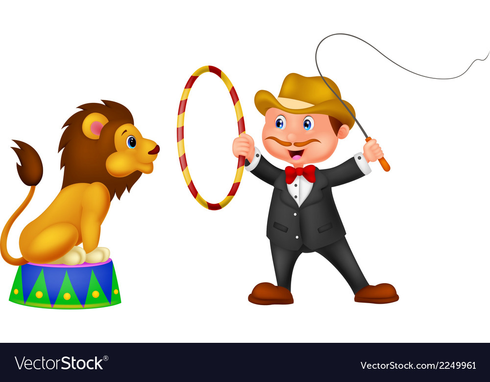 Cartoon Lion Tamer with lion.