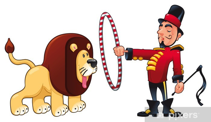 Lion Tamer with lion. Vector circus illustration. Wall Mural.