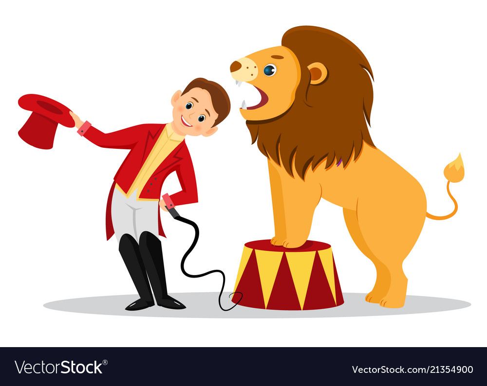 Cartoon lion tamer puts his head in the jaws of.