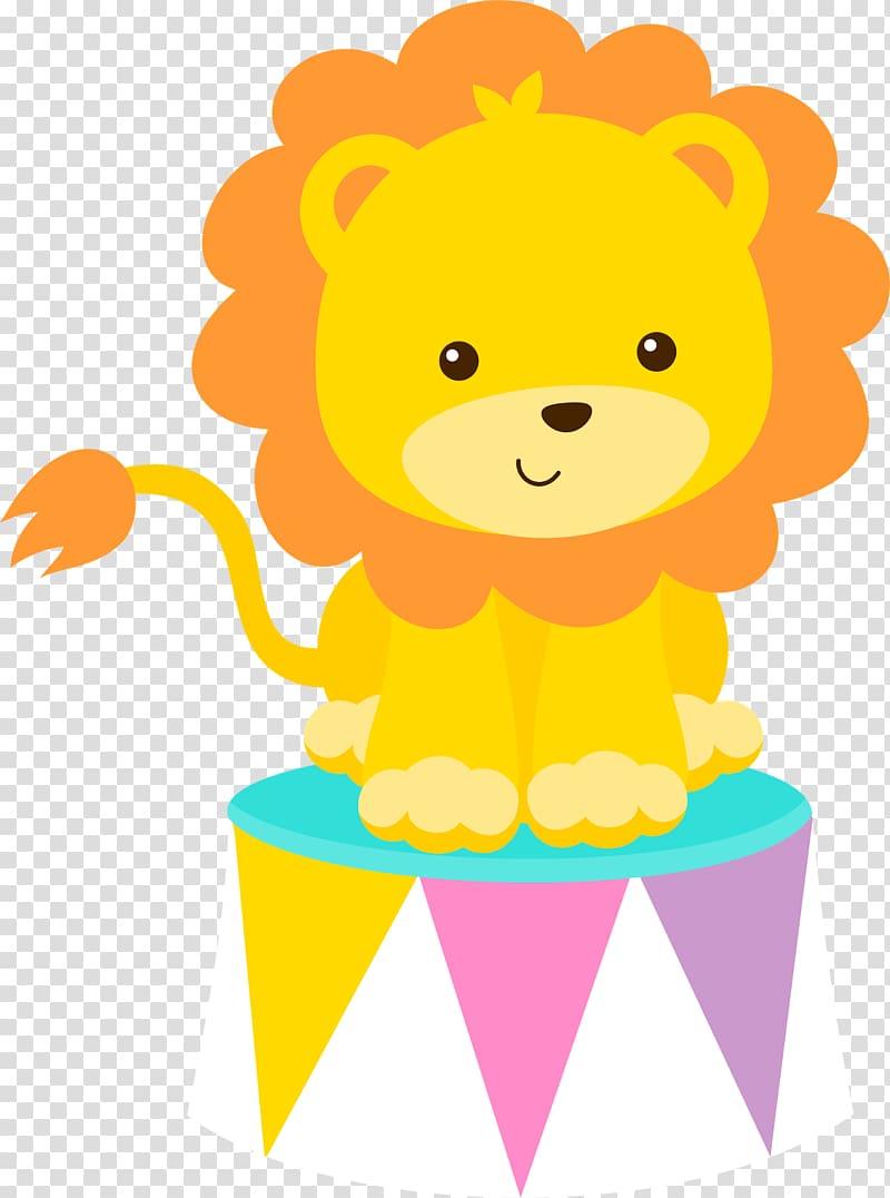 Lion on stool , Circus Clown , carnival theme transparent.