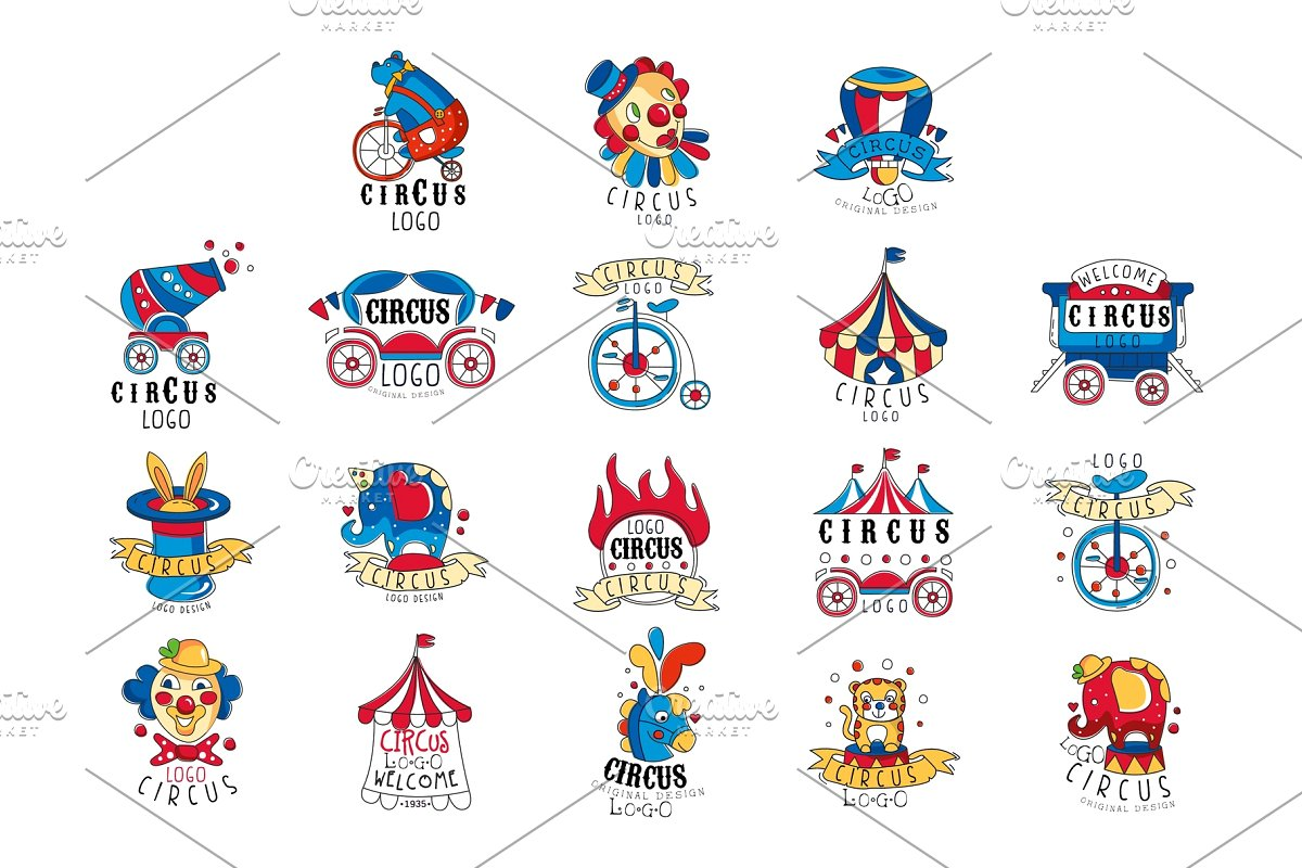 Circus logo design set, colorful ~ Illustrations ~ Creative.