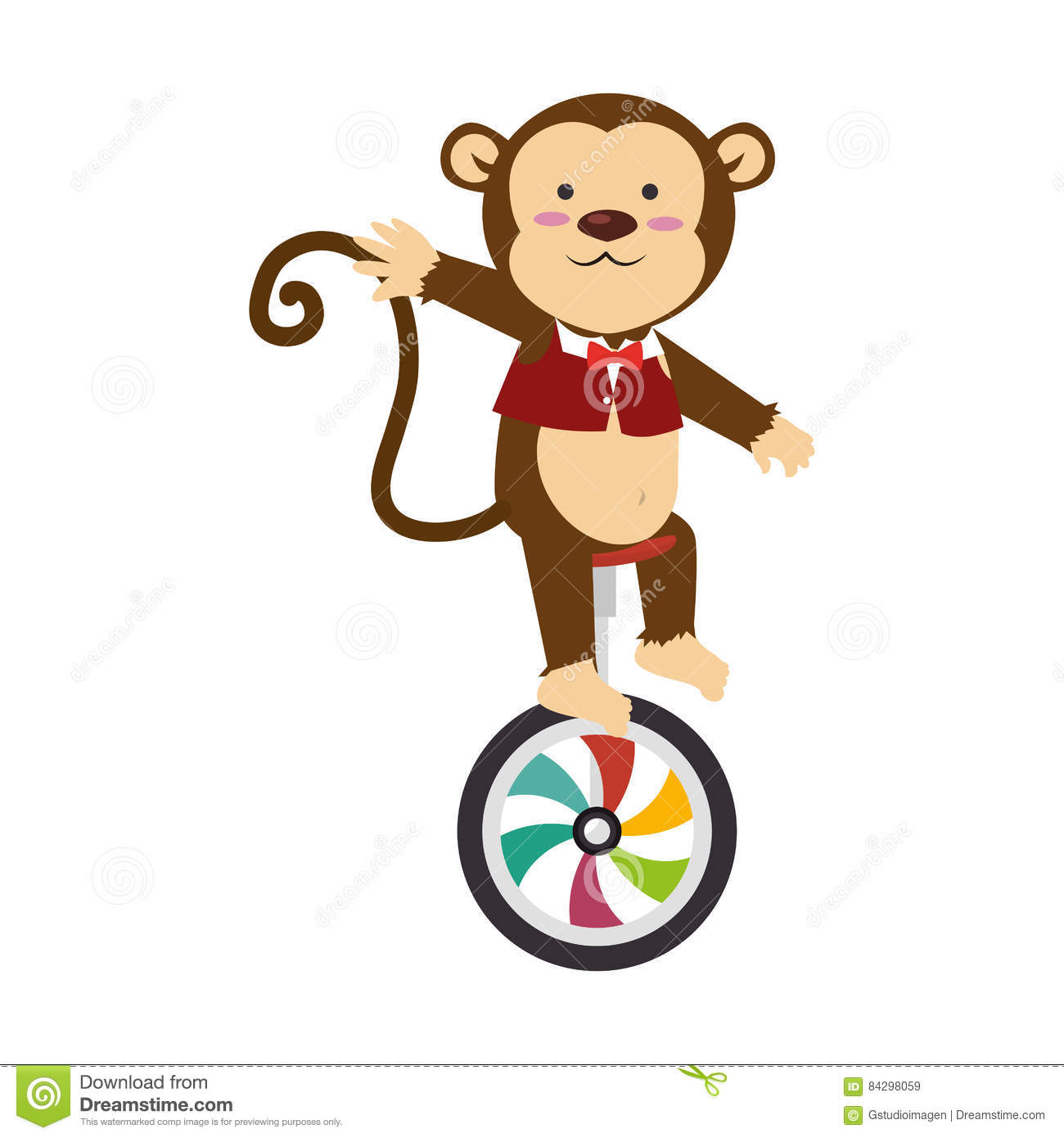 Cute monkey circus animal stock illustration. Illustration of.