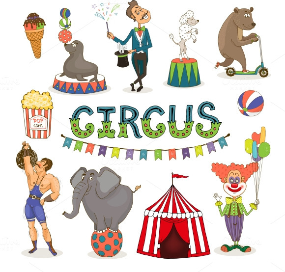 Circus performers clipart.