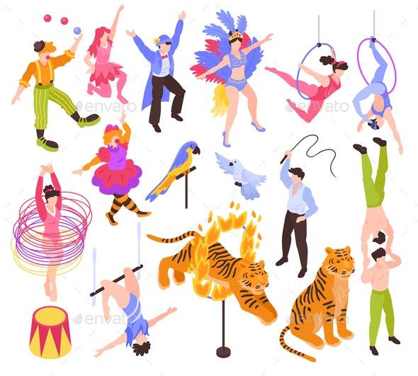 Circus Performers Isometric Set.
