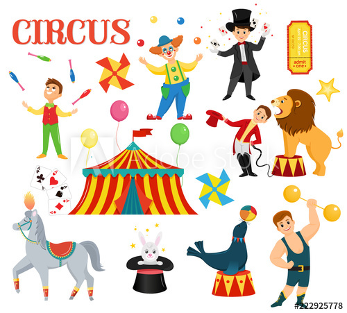 A set of colored circus artists. Circus performers perform.