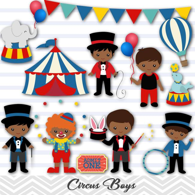 African American Circus Clip Art, Circus Boys Clipart, Carnival Clipart,  00223.
