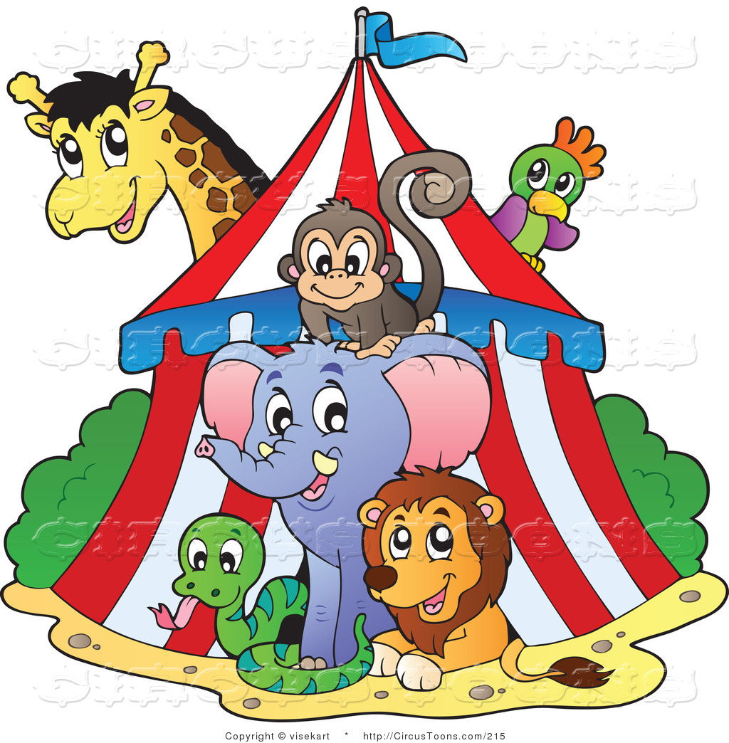 Circus Clipart of a Big Top Circus Tent and Wild Animals by visekart.