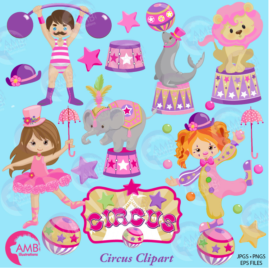 Pink Circus Clipart pack, Girl Birthday Circus clipart pack, Ringmaster,  Elephants, Clowns clipart, commercial use, AMB.