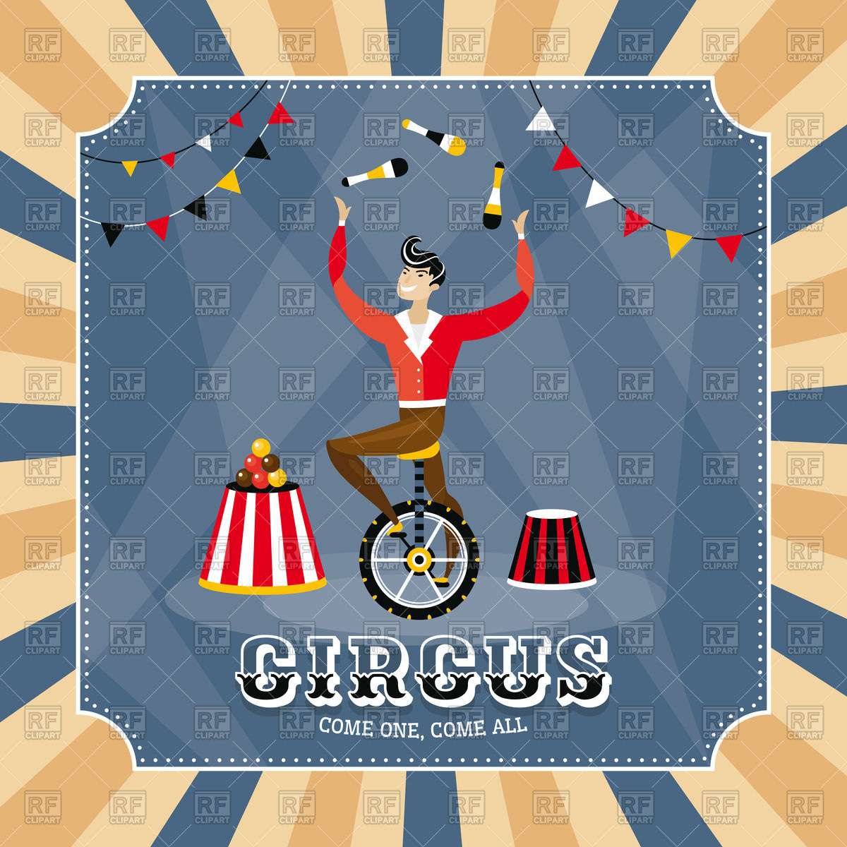 Circus poster or invitation with juggler Stock Vector Image.