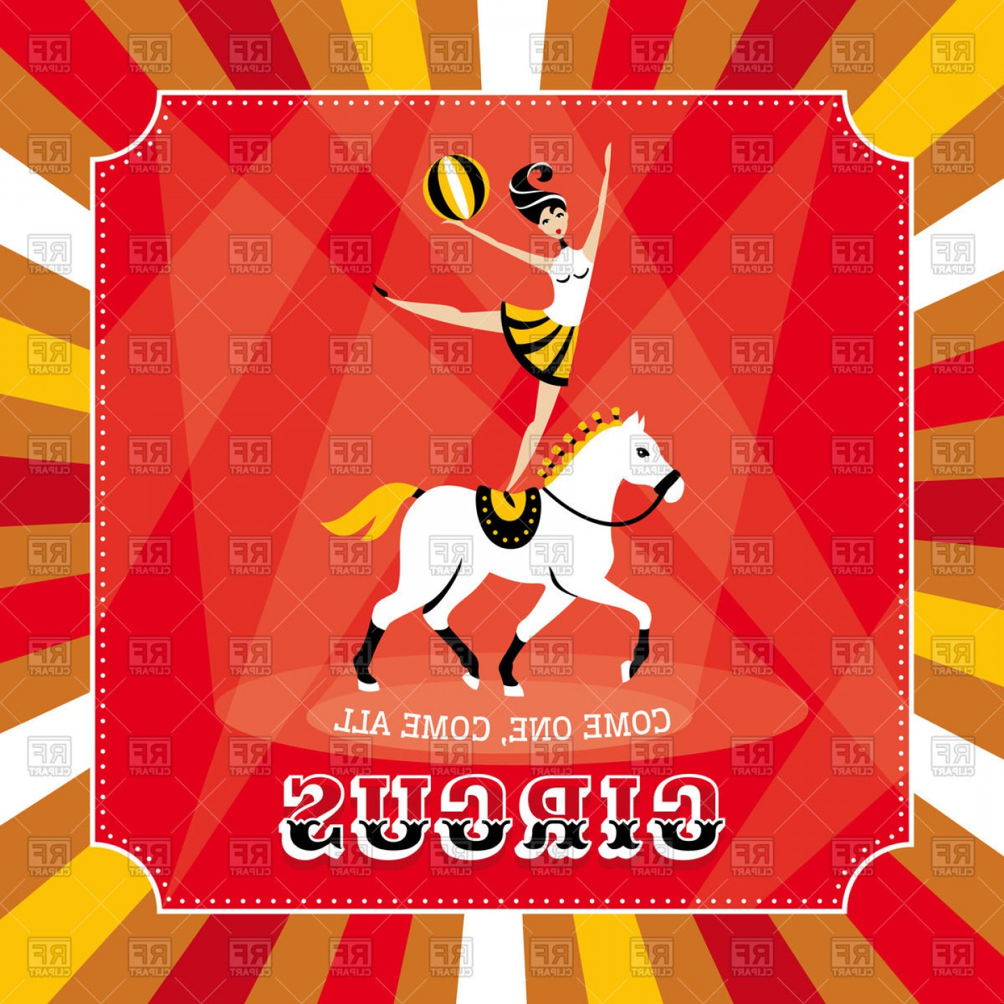 Circus Poster Acrobat Girl On Horse Vector Clipart.