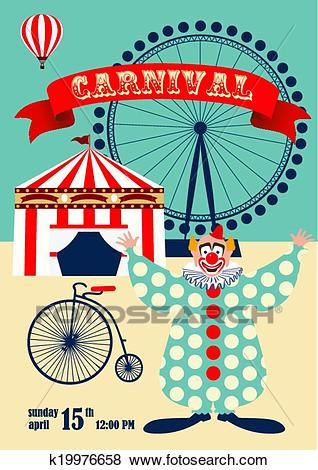 Vintage carnival or circus poster Clip Art.