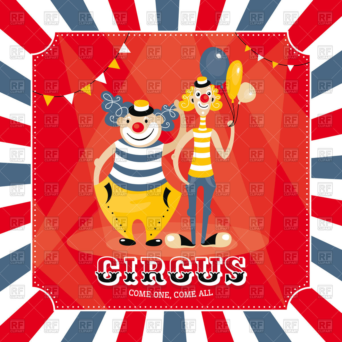 Circus poster with clowns Stock Vector Image.