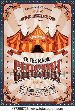 Vintage Circus Poster With Big Top Clipart.